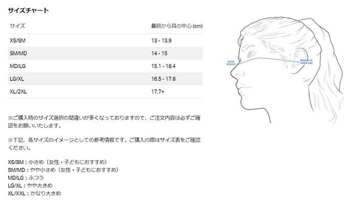 UAスポーツマスクのサイズ