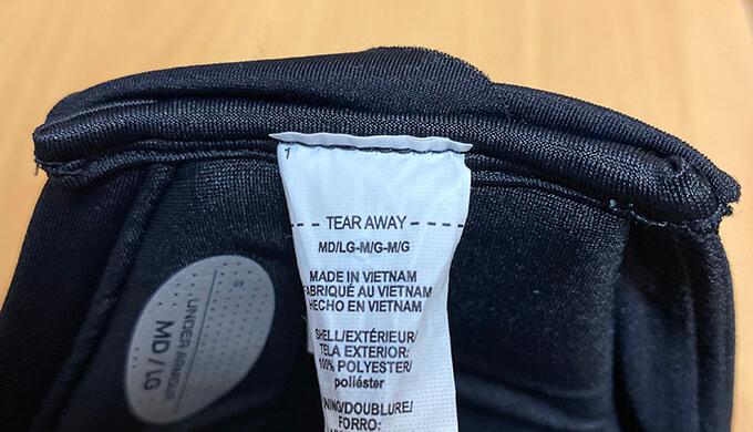 UAスポーツマスクのタグ